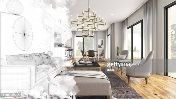 half drawing sketch modern living room interior - sketch stock pictures, royalty-free photos & images