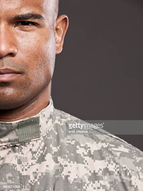 Half Face of African American Soldier