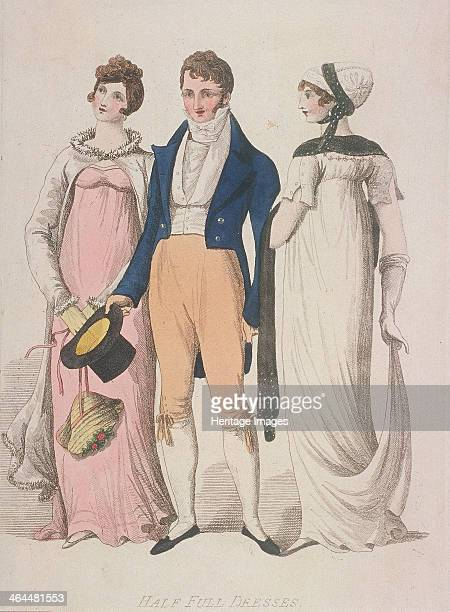 Half full dresses c1810 The two women are wearing high waisted dresses with fitted coats over the top The man is wearing a frock coat and cravat