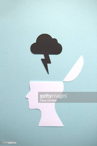 half head with black thundercloud - mental illness stock pictures, royalty-free photos & images