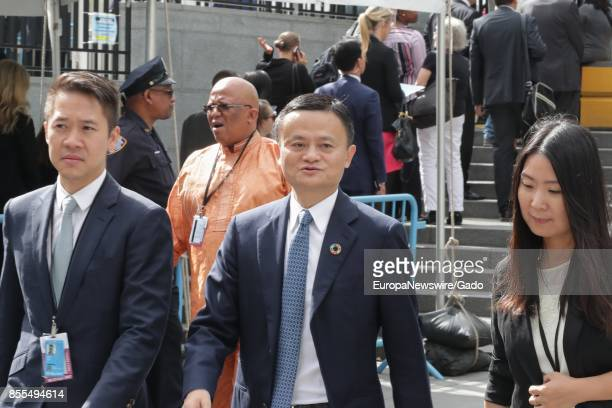 Half length portrait of Alibaba founder and chairman Jack Ma the richest person in China walking through a crowd during his visit to to the UN...