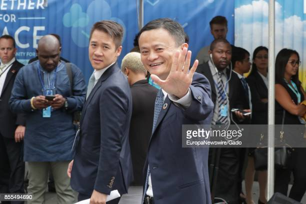 Half length portrait of Alibaba founder and chairman Jack Ma the richest person in China waving during his visit to to the UN Headquarters in New...