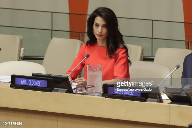 Half length portrait of Amal Clooney During an Event on Press Behind Bars Undermining Justice and Democracy at the United Nations headquarters in New...