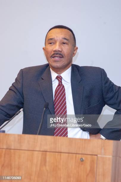 Half length portrait of American politician and Civil Rights leader Kweisi Mfume speaking at a lectern in Baltimore Maryland February 2 2006 From the...
