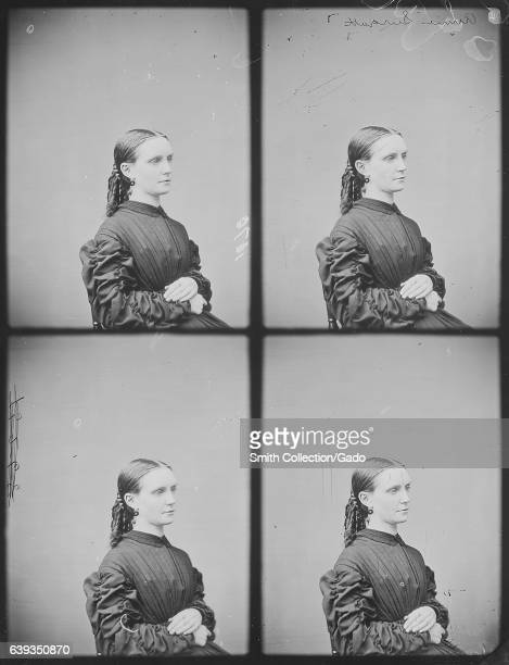 Half length portrait of Annie Surratt a boarding house owner convicted as a conspirator in President Lincoln's assassination seated in profile 1863...