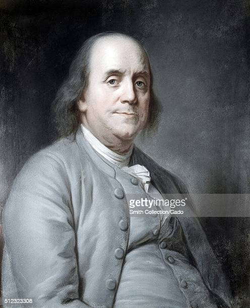A half length portrait of Benjamin Franklin he is shown in a seated position wearing a grey suit 1783 From the New York Public Library