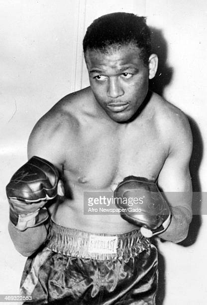 A half length portrait of boxing champion Sugar Ray Robinson in fighting pose wearing boxing gloves and shorts 1950