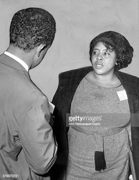 A half length portrait of civil rights leader Fannie Lou Harmer a Student Nonviolent Coordinating Committee field worker who was beaten and shot...