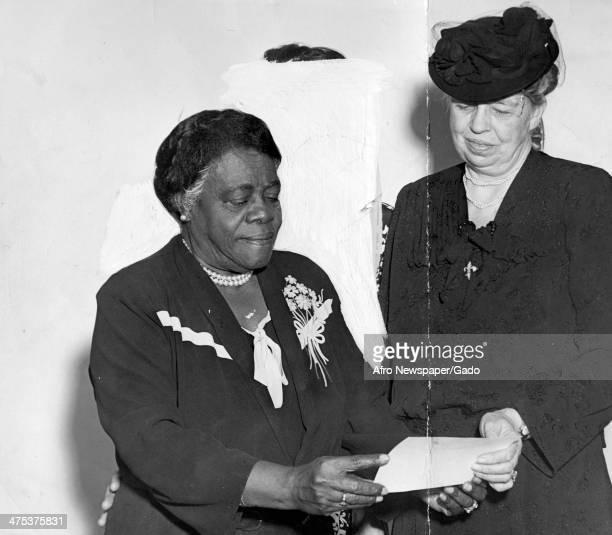 A half length portrait of First Lady Eleanor Roosevelt with Mary McLeod Bethune and Nell Hunter 1940