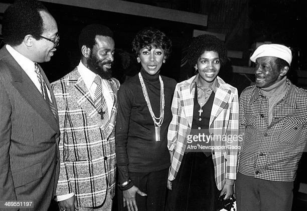 Half length portrait of, left to right, J Lloyd Grant, South African Zulu King Goodwill Zwelethini, Josephine Premice, Queen Mantfombe and Avon Long...