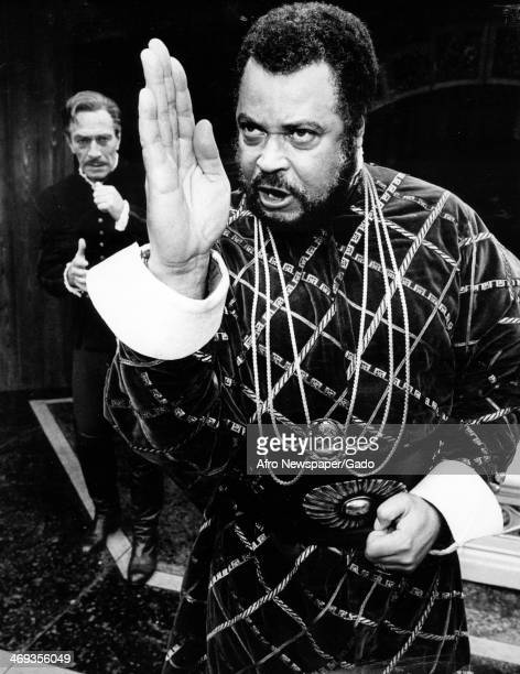 A half length portrait of the actors James Earl Jones as Othello and Christopher Plummer as Iago in Shakespeare's 'Othello' 1981