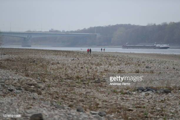Half loaded cargo ship passes banks and the low water in the River Rhine on November 25 2018 in Bonn Germany Summer heat wave in Germany as well...