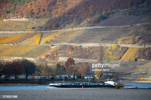 Half loaded cargo ships pass banks and the low water in the River Rhine along the vineyards on November 13 2018 in Oberwesel Germany Summer heat wave...