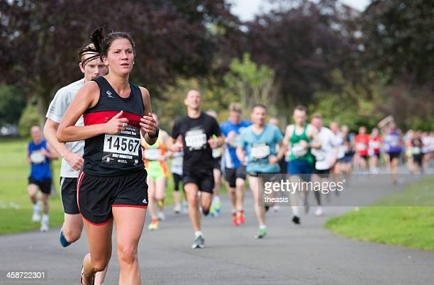 half marathon runners - theasis stock pictures, royalty-free photos & images