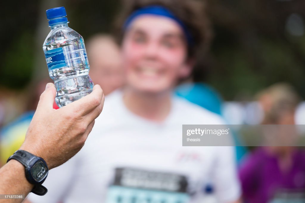 Half Marathon Watering Station : Stock Photo