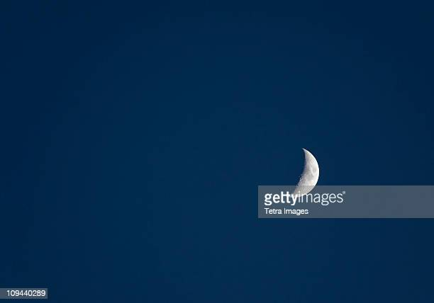 half moon on sky - navy blue stock pictures, royalty-free photos & images