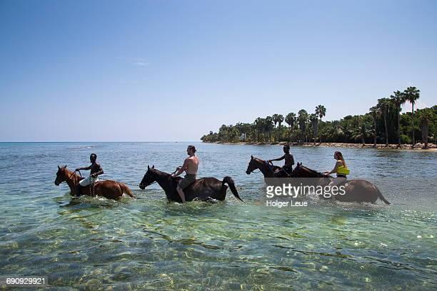Half Moon Resort horseback ride into Caribbean