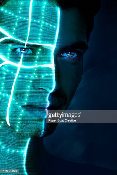 half of a man's face lit with laser beams & light - part of stock pictures, royalty-free photos & images