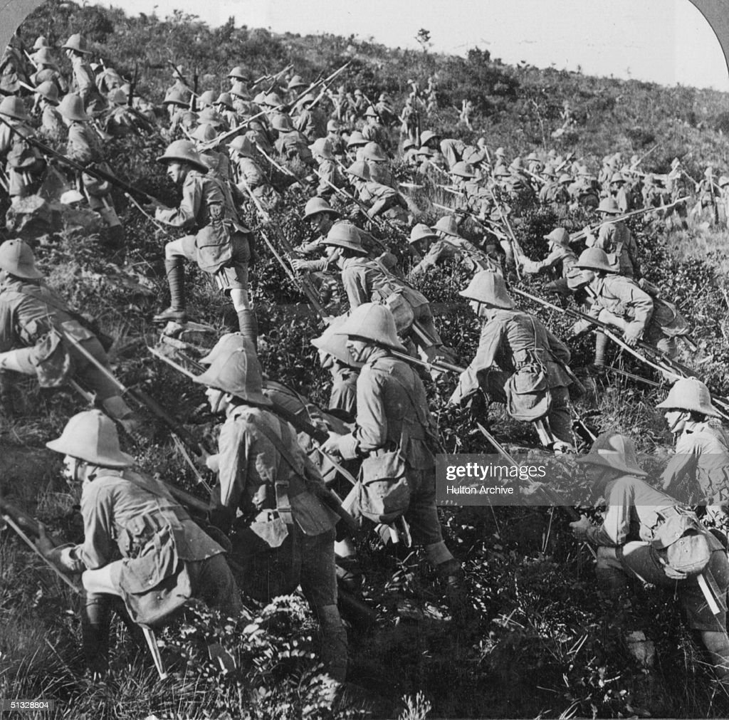 Half of a stereoscopic image depicting British troops advancing at Gallipoli, 6th August 1915.