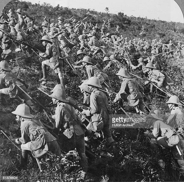 Half of a stereoscopic image depicting British troops advancing at Gallipoli 6th August 1915