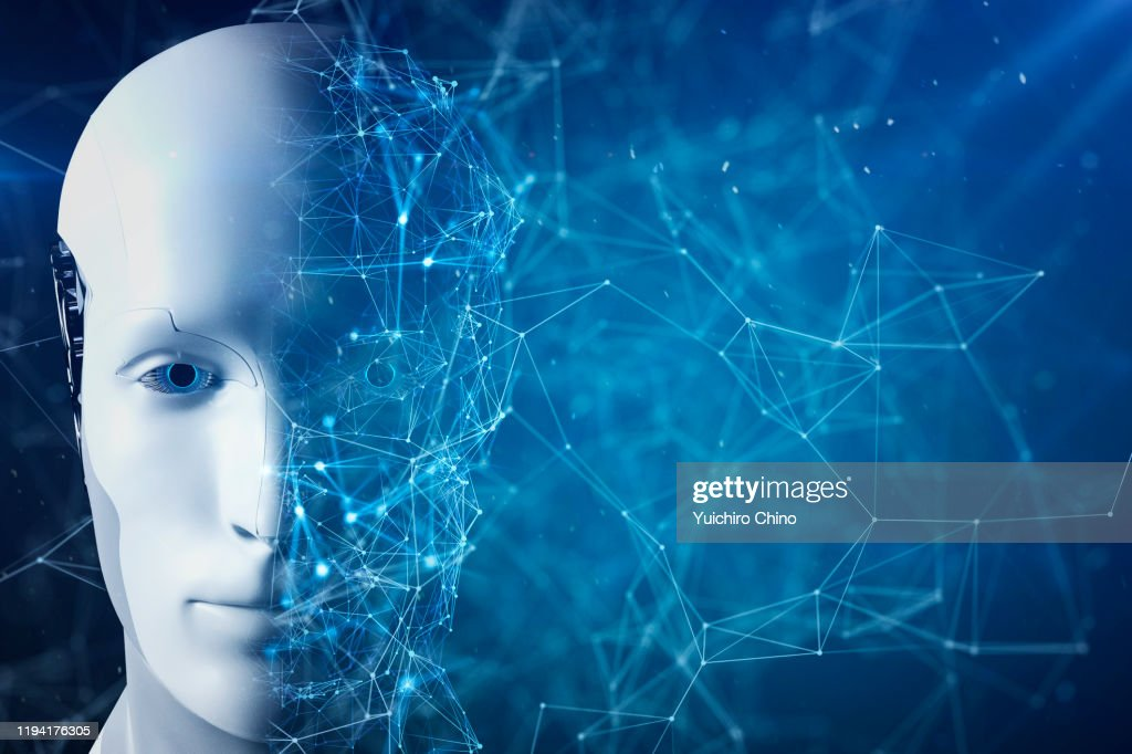 Half of Artificial Intelligence robot face : Stockfoto