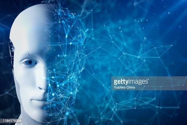 half of artificial intelligence robot face - science and technology stock pictures, royalty-free photos & images