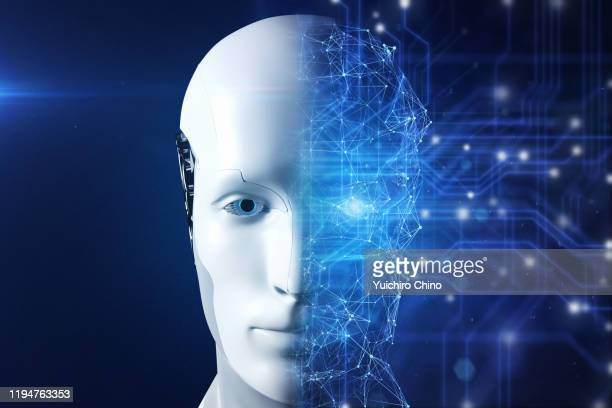 half of artificial intelligence robot face - ai stock pictures, royalty-free photos & images
