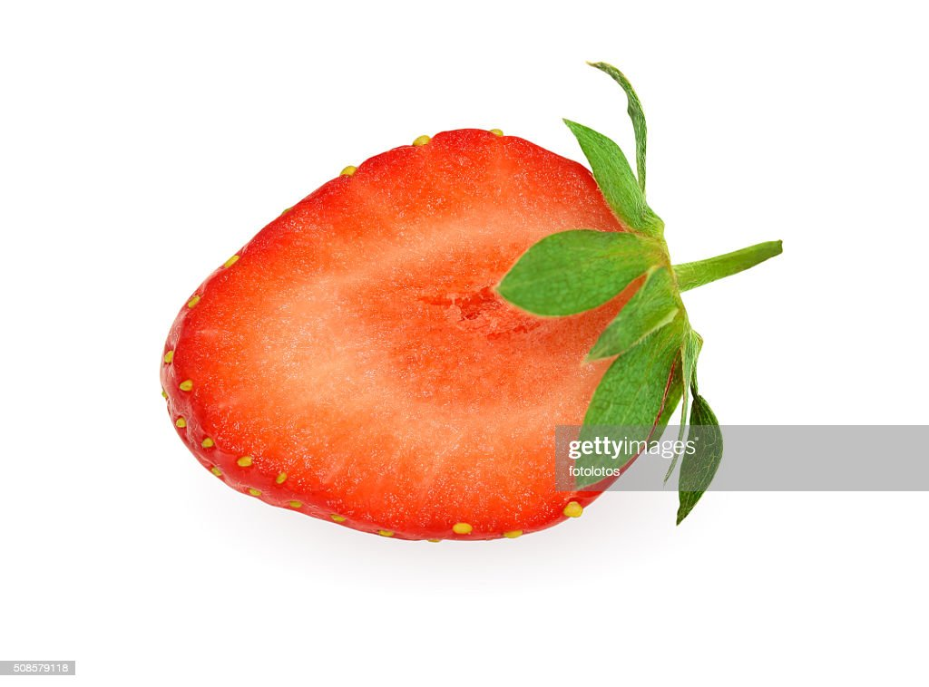 Half of strawberry isolated on white with clipping path : Bildbanksbilder