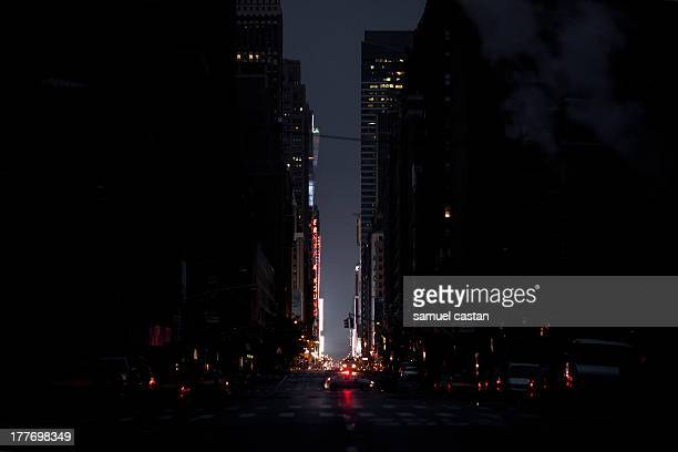 Half of the city plunged in dark from 35th street to Battery Park. Time Square lights never go out!