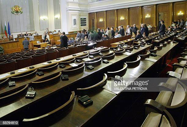 Half of the parliamentary hall seats are empty as the opposition boycotts a calling of a repetition of the vote on Socialist Prime Minister Sergey...
