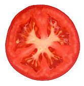 Half of tomato on white background