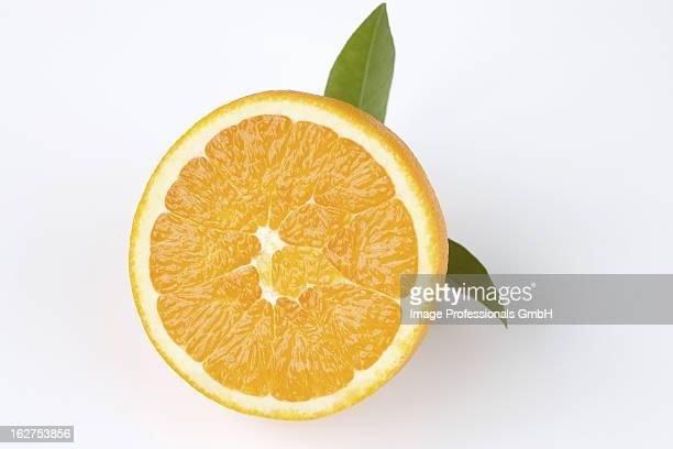 Half orange with leaves