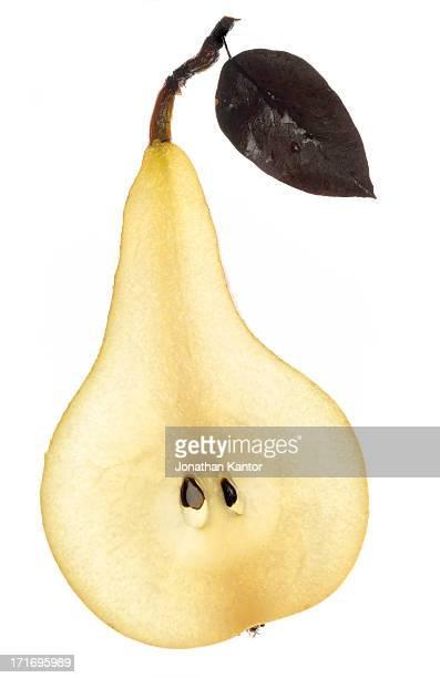Half Pear with Leaf