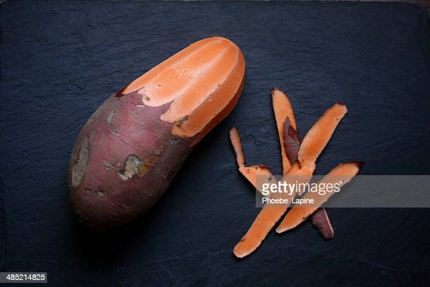 Half peeled Sweet Potato