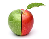 Half red half green apple