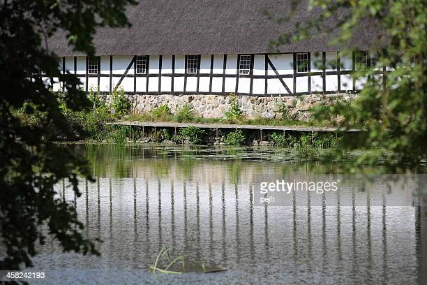 half timbered house at egeskov slot castle - pejft stock pictures, royalty-free photos & images