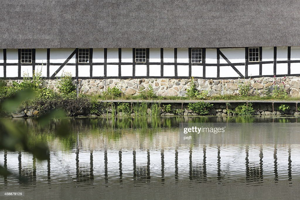 Half timbered house at Egeskov Slot Castle : Stock Photo