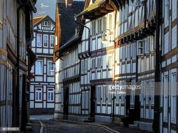 Half timbered houses and cobbled street in the historic old town of Goslar, Germany