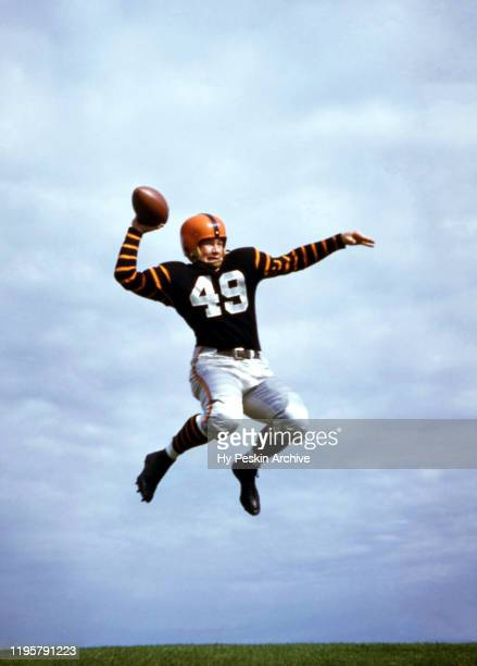 Halfback Royce Flippin Jr. #49 of the Princeton Tigers football team poses for an action portrait circa May, 1955 in Princeton, New Jersey.
