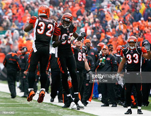 Halfback Rudi Johnson celebrates with receiver Chad Johnson of the Cincinnati Bengals after Rudi's touchdown against the St Louis Rams during the...