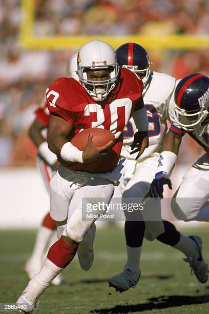 Halfback Stump Mitchell of the Phoenix Cardinals rushes pursued by the defense during a NFL game on November 13 1988 against the New York Giants The...