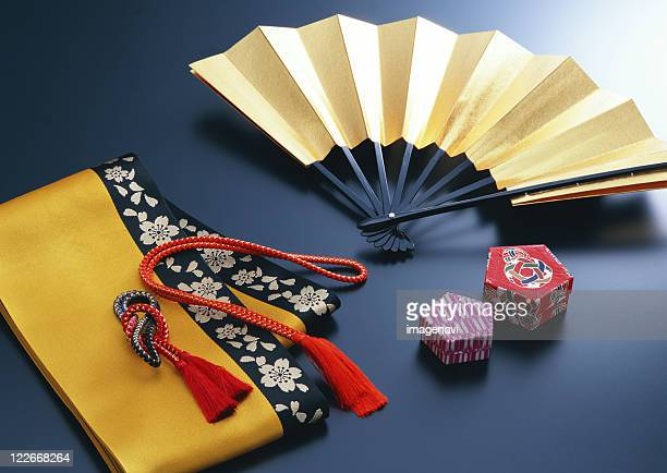 half-breadth obi and japanese accessory - obi sash stock pictures, royalty-free photos & images
