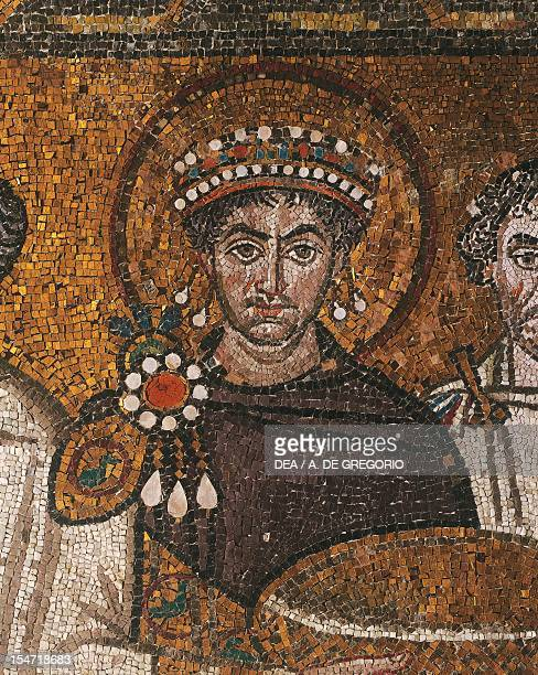 Halffigure bust Emperor Justinian detail from Emperor Justinian with his entourage mosaic northern wall of the apsidal basin Basilica of San Vitale...