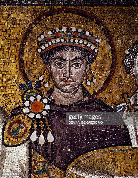 Half-figure bust of Emperor Justinian, detail from Emperor Justinian with his entourage, mosaic, northern wall of the apse, Basilica of San Vitale ,...