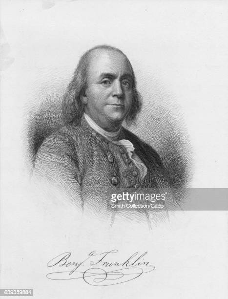 Halflength etching of Benjamin Franklin politician author scientist and a Founding Father of the United States 1879 From the New York Public Library