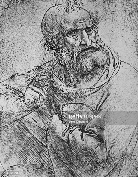 HalfLength of an Apostle with his Right Hand Raised' c1480 From The Drawings of Leonardo da Vinci [Reynal Hitchcock New York 1945] Artist Leonardo da...