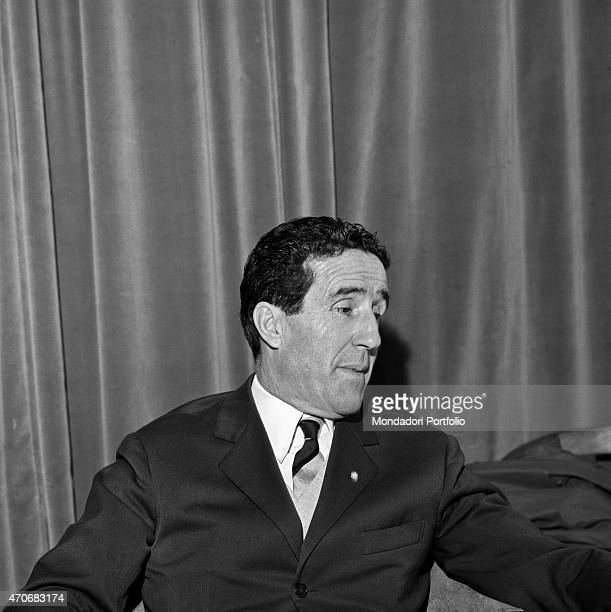Halflength portrait of Argentinianborn French football trainer Helenio Herrera shot while he has a curious expression he nicknamed The Wizard is...