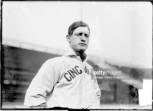 Halflength portrait of Charles Evard 'Gabby' Street also known as 'Old Sarge' of the Cincinnati Reds National League standing on field at West Side...