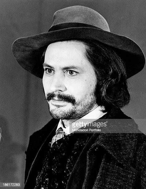 Halflength portrait of Italian actor Giulio Brogi during the making of the TV miniseries Eleonora Brogi plays the role of Andrea a painter with an...