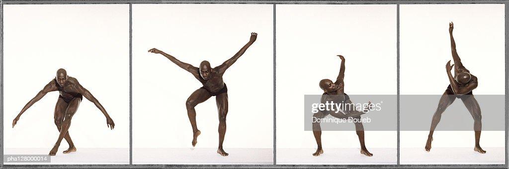 Half-naked man dancing, full length, photo sequence : Stockfoto